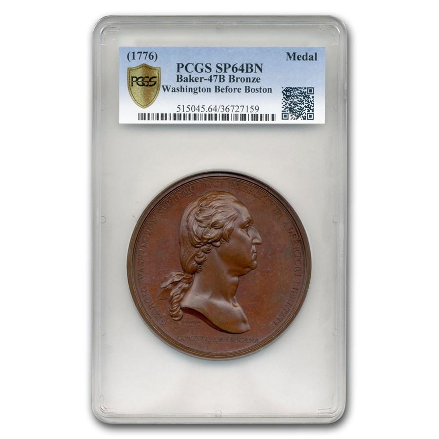 (1776) Washington Before Boston Medal SP-64 PCGS (Brown)