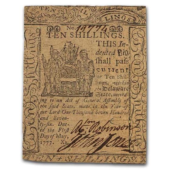 1777 10 Shillings Delaware 5/1/1777 VF (Fr#DE-91)