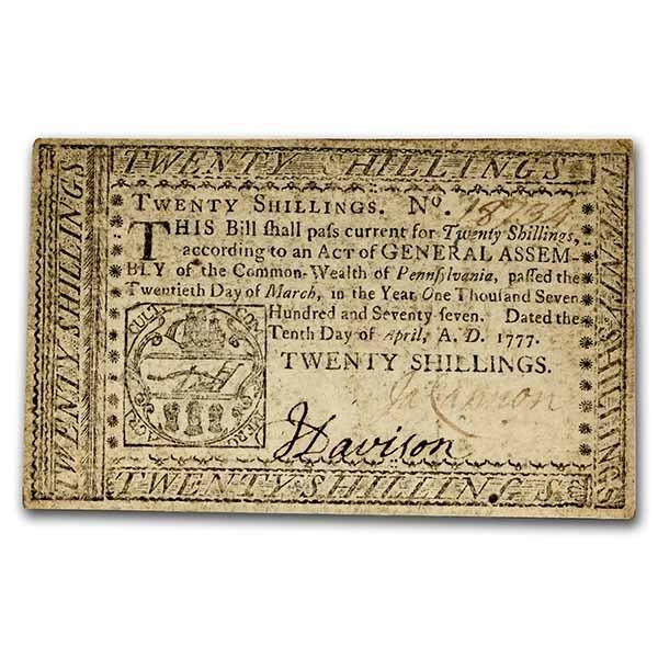 1777 20 Shillings Pennsylvania 4/10/1777 AU (Fr#PA-222a)