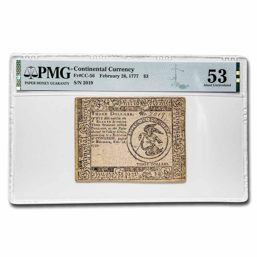 1777 $3 Continental Curr. 2/26/77 AU-53 PMG (Fr#CC-56)