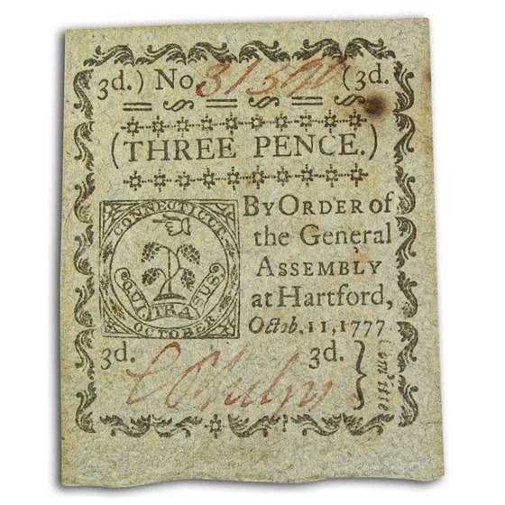 1777 3 Pence Connecticut 10/11/77 CU (Fr#CT-215)
