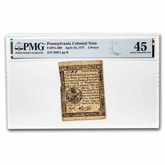 1777 3 Pence Pennsylvania 4/10/1777 CH XF-45 PMG (Fr#PA-209)