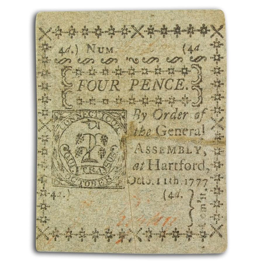 1777 4 Pence Connecticut 10/11/77 AU (Fr#CT-216) Cut Cancelled
