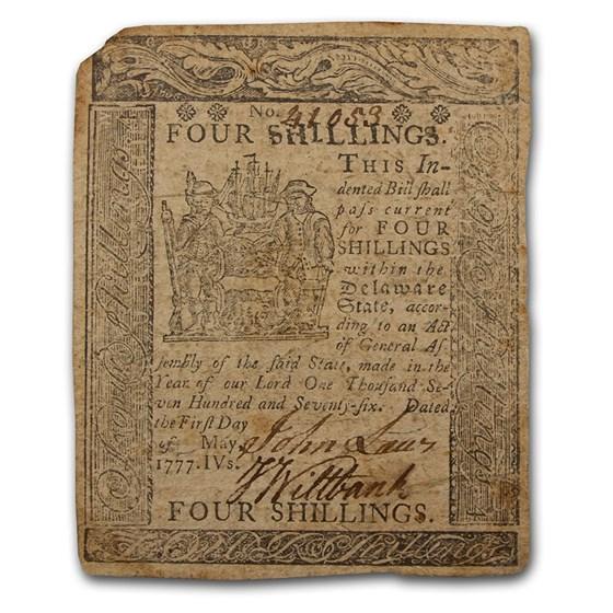 1777 4 Shillings Delaware 5/1/1777 XF (Fr#DE-88)