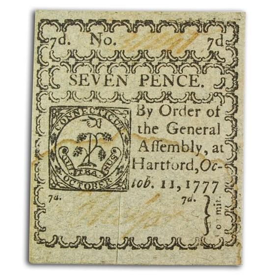 1777 7 Pence Connecticut 10/11/77 AU (Fr#CT-217) Cancelled