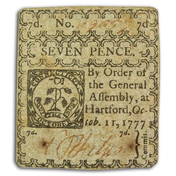 1777 7 Pence Connecticut 10/11/77 AU (Fr#CT-217)