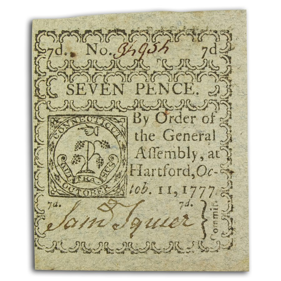 1777 7 Pence Connecticut 10/11/77 CU (Fr#CT-217)