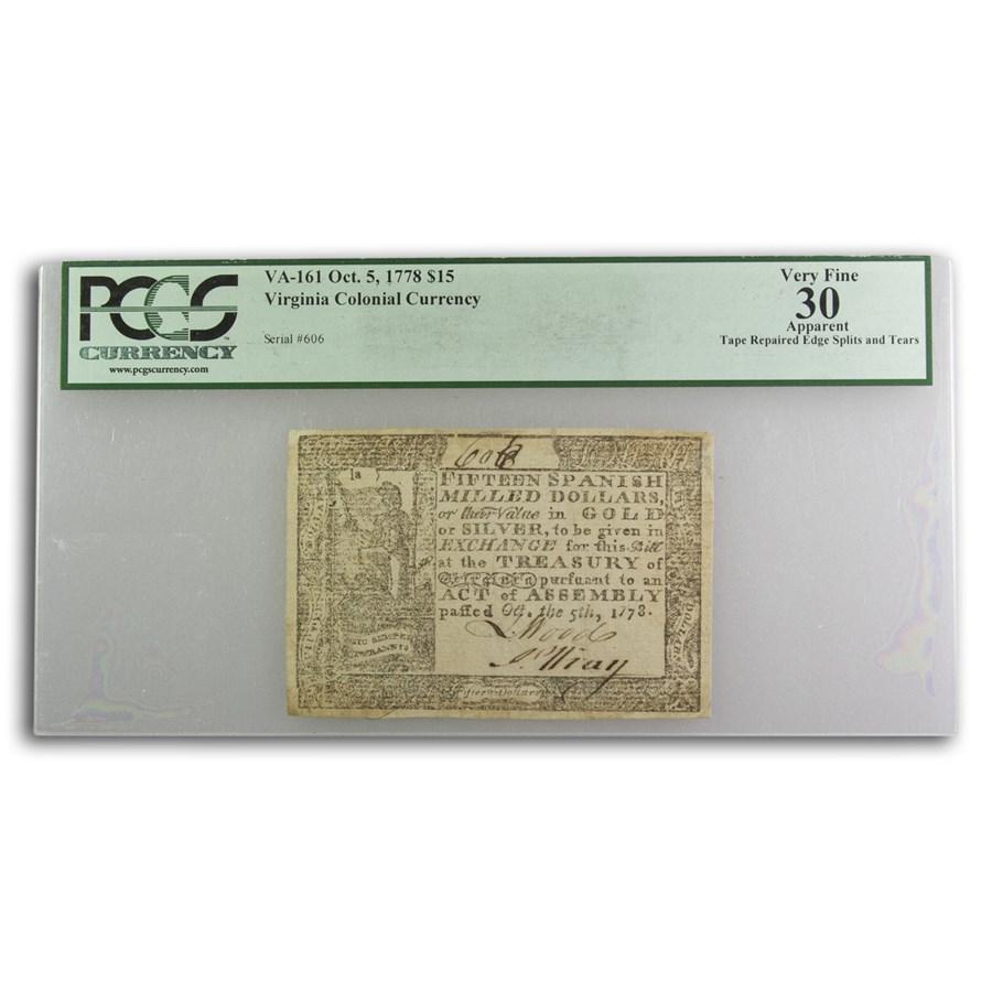 1778 $15 Virginia 10/5/1778 VF-30 PCGS (Fr#VA-161)