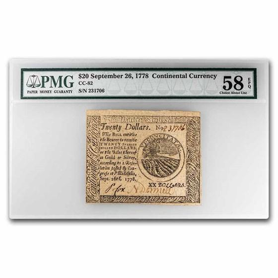 1778 $20 Continental Currency 9/26/78 AU-58 EPQ PMG (Fr#CC-82)