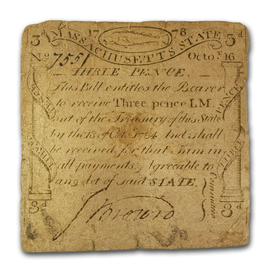 1778 3 Pence Massachusetts Codfish 10/16/1778 Fine (Fr#MA-255)