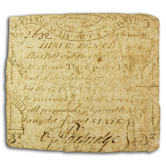 1778 3 Pence Massachusetts Codfish 10/16/1778 VG (Fr#MA-255)