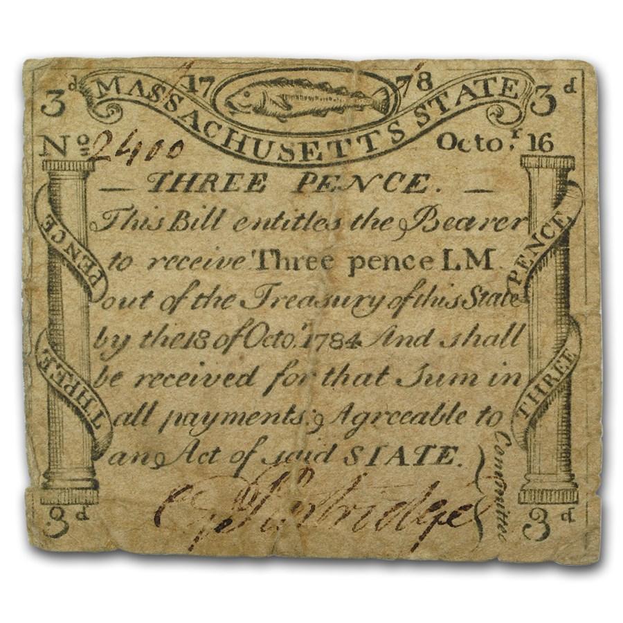 1778 3 Pence Massachusetts Currency Codfish Revere 10/16/1778 VF