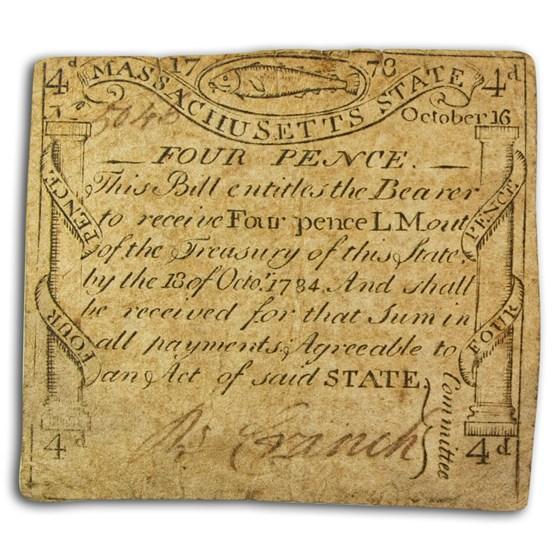 1778 4 Pence MA Codfish 10/16/1778 Fine (Fr#MA-256)