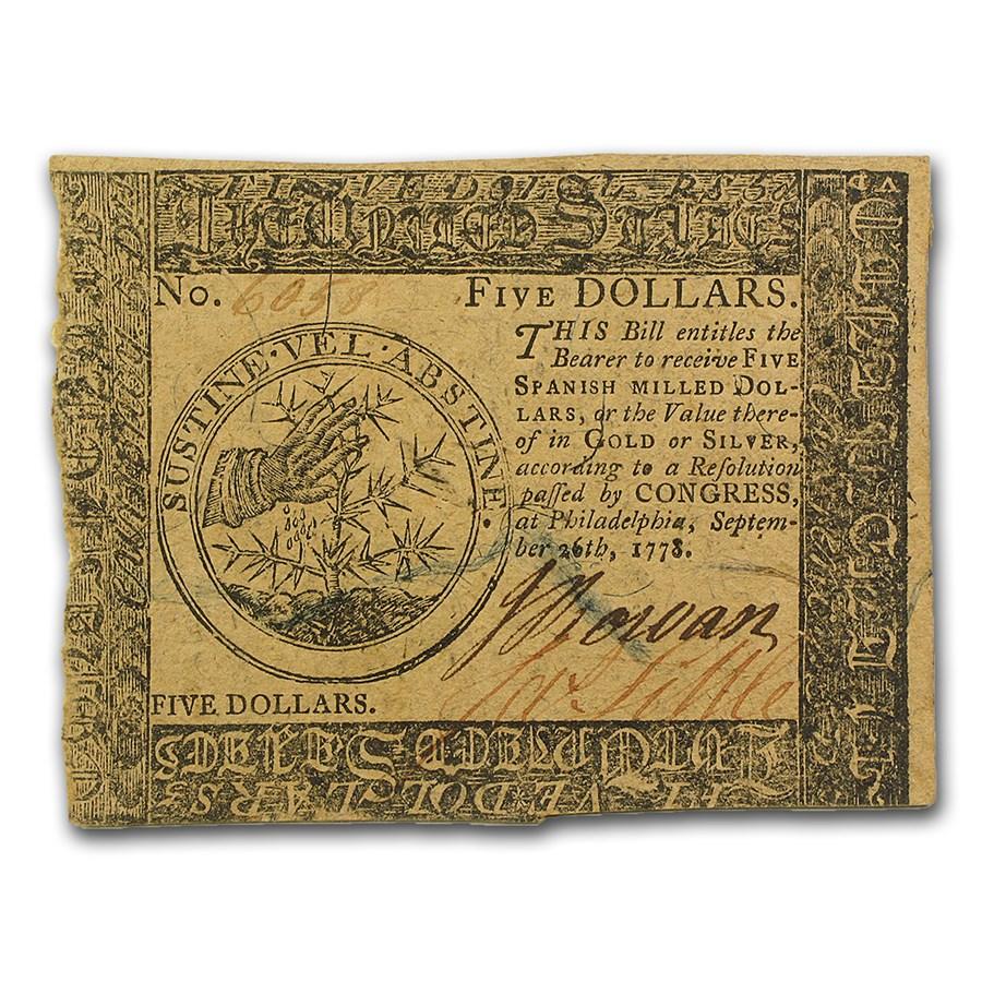 1778 $5 Continental Currency 9/26/78 XF (Fr#CC-79)