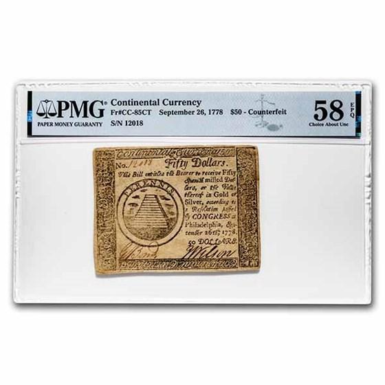 1778 $50 Continental 9/26/78 AU-58 EPQ PMG (Fr#CC-85) Counterfeit
