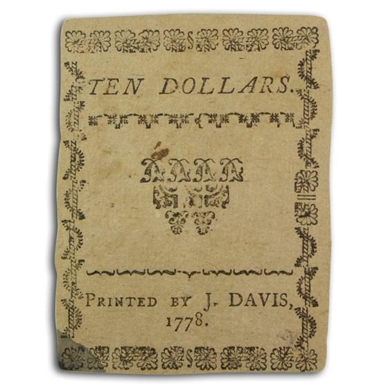 1778 North Carolina 8/8/1778 $10 XF (Fr#NC-177)