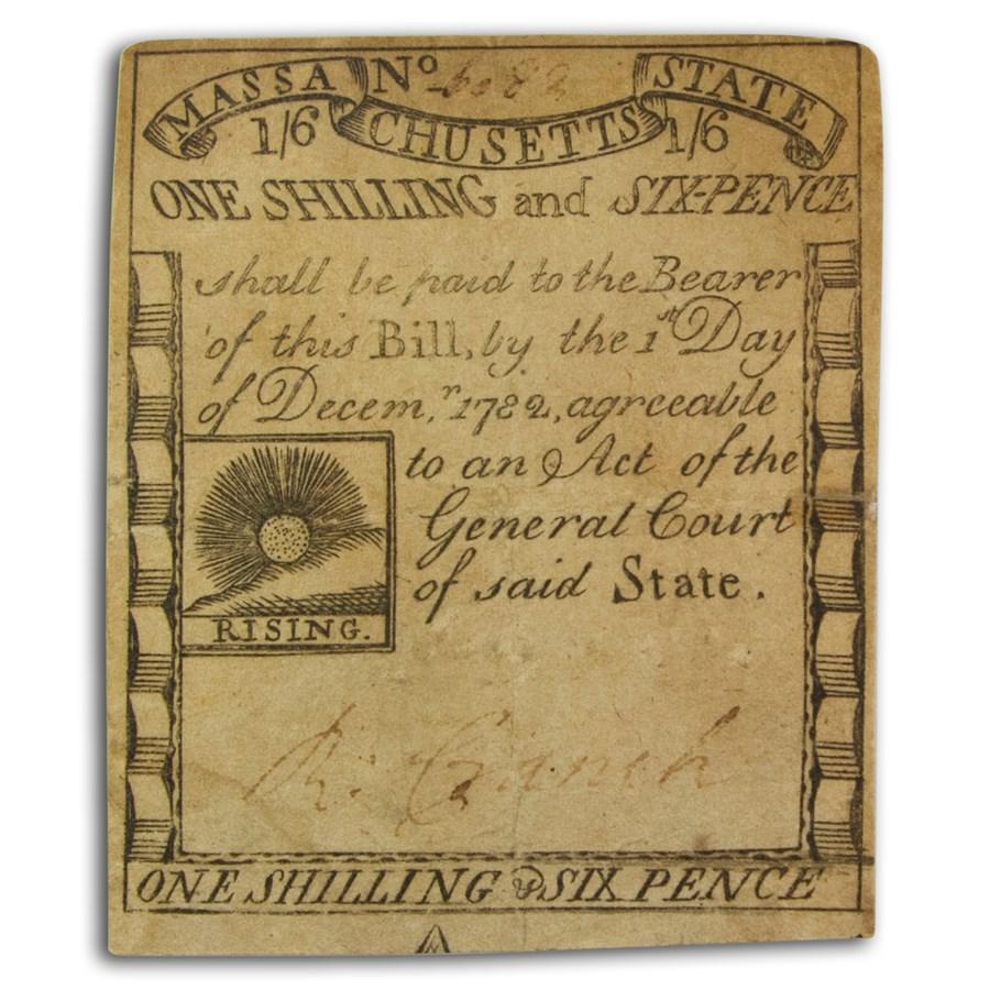 1779 1 Shilling 6P MA Rising Sun 12/1/79 VF (Fr#MA-267)