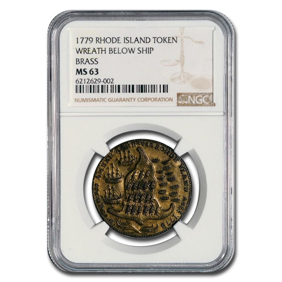 1779 Rhode Island Ship Token Colonial MS-63 NGC (Brass)