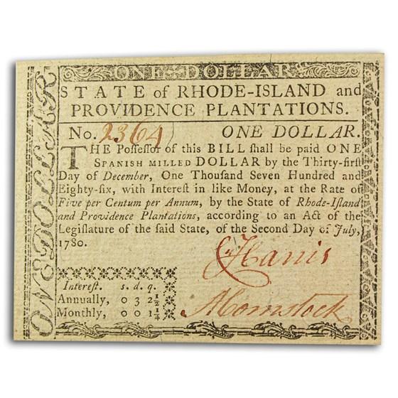 1780 $1 Rhode Island 7/2/1780 CU (Fr#RI-282)