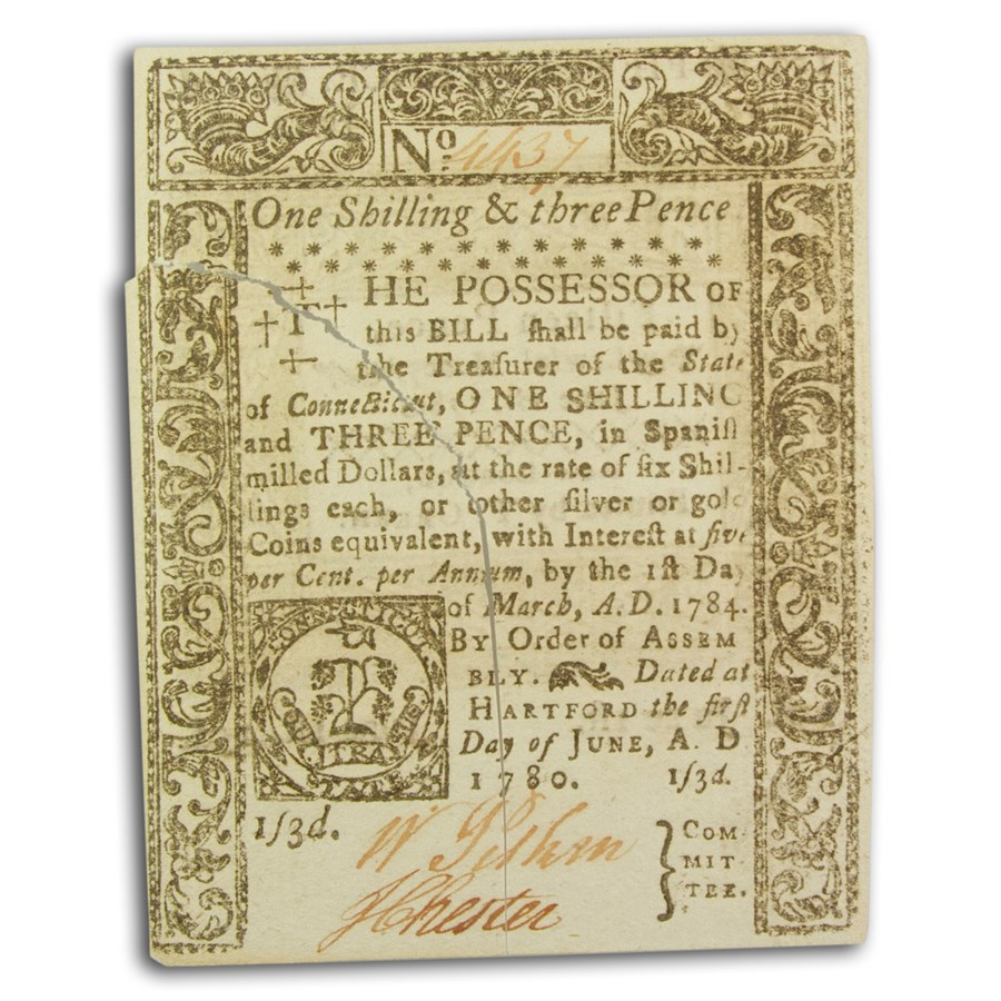 1780 1 Shilling, 3 Pence CT 6/1/1780 CU (Fr#CT-227) Cancelled