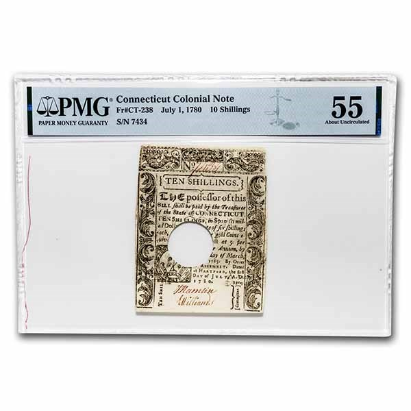 1780 10 Shillings CT 7/1/80 AU-55 PMG (Fr#CT-238) Cancelled