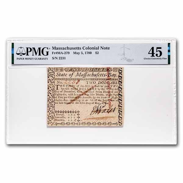 1780 $2 Massachusetts 5/5/1780 CH XF-45 PMG (Fr#MA-279) Cancelled