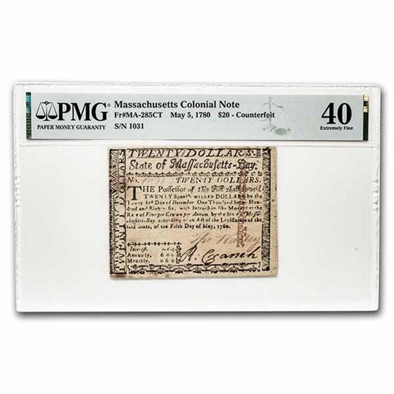 1780 $20 Massachusetts 5/5/1780 XF-40 PMG (Fr#MA-285)Counterfeit