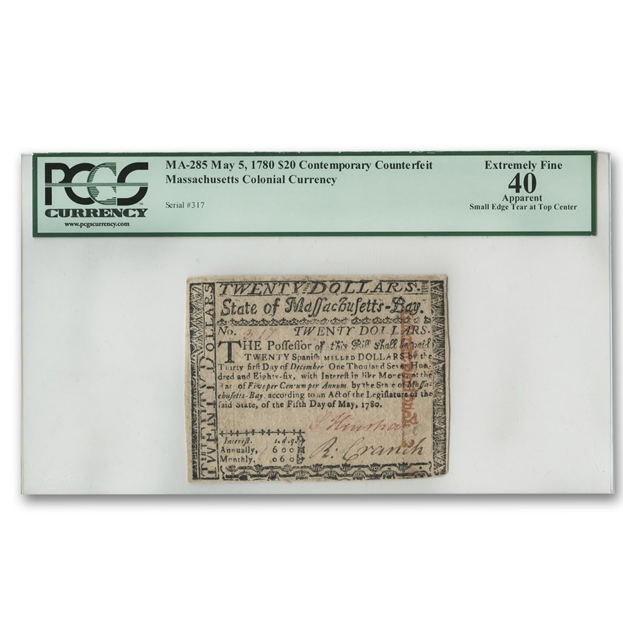 1780 $20 Massachusetts Currency 5/5/1780 XF-40 PCGS (Contemp CFT)