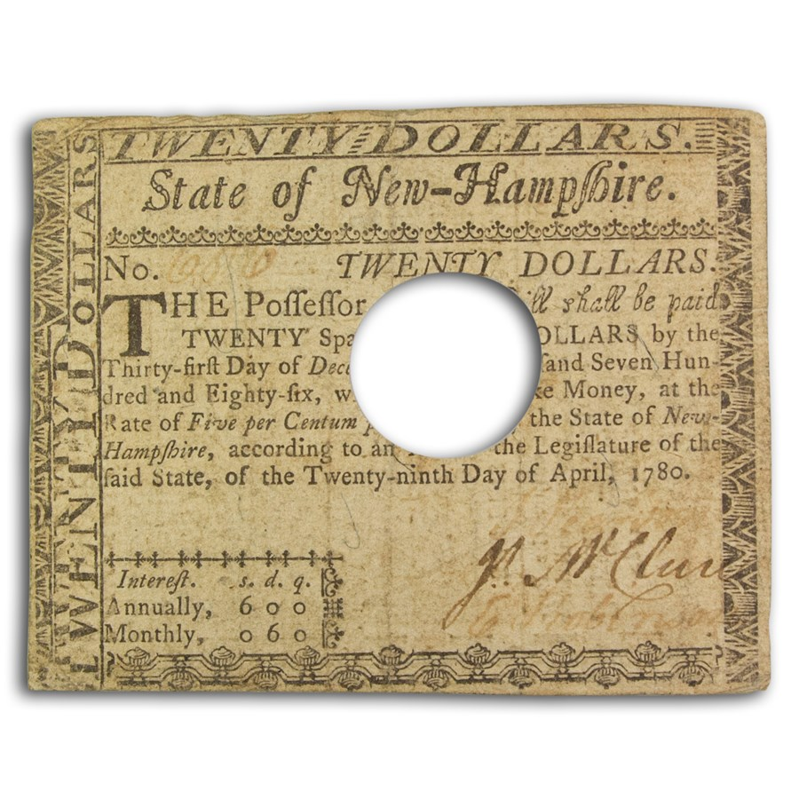1780 $20 New Hampshire 4/29/1780 VF (Fr#NH-186) Cancelled