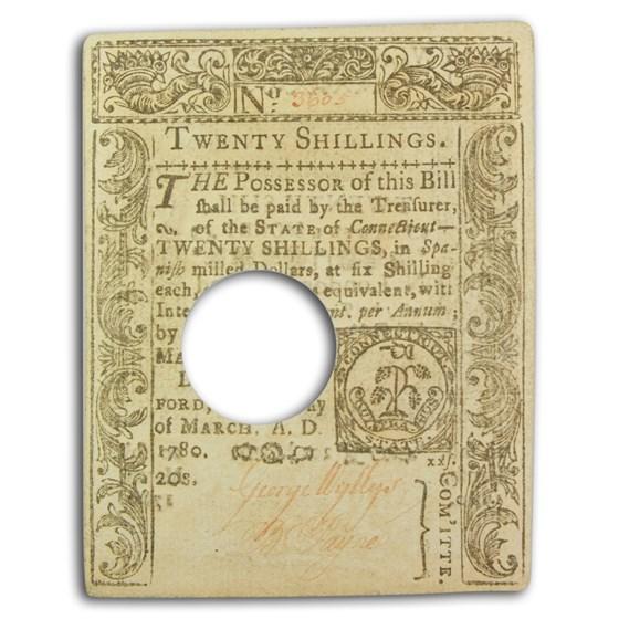 1780 20 Shillings Connecticut 3/1/1780 CU (Fr#CT-224) Cancelled