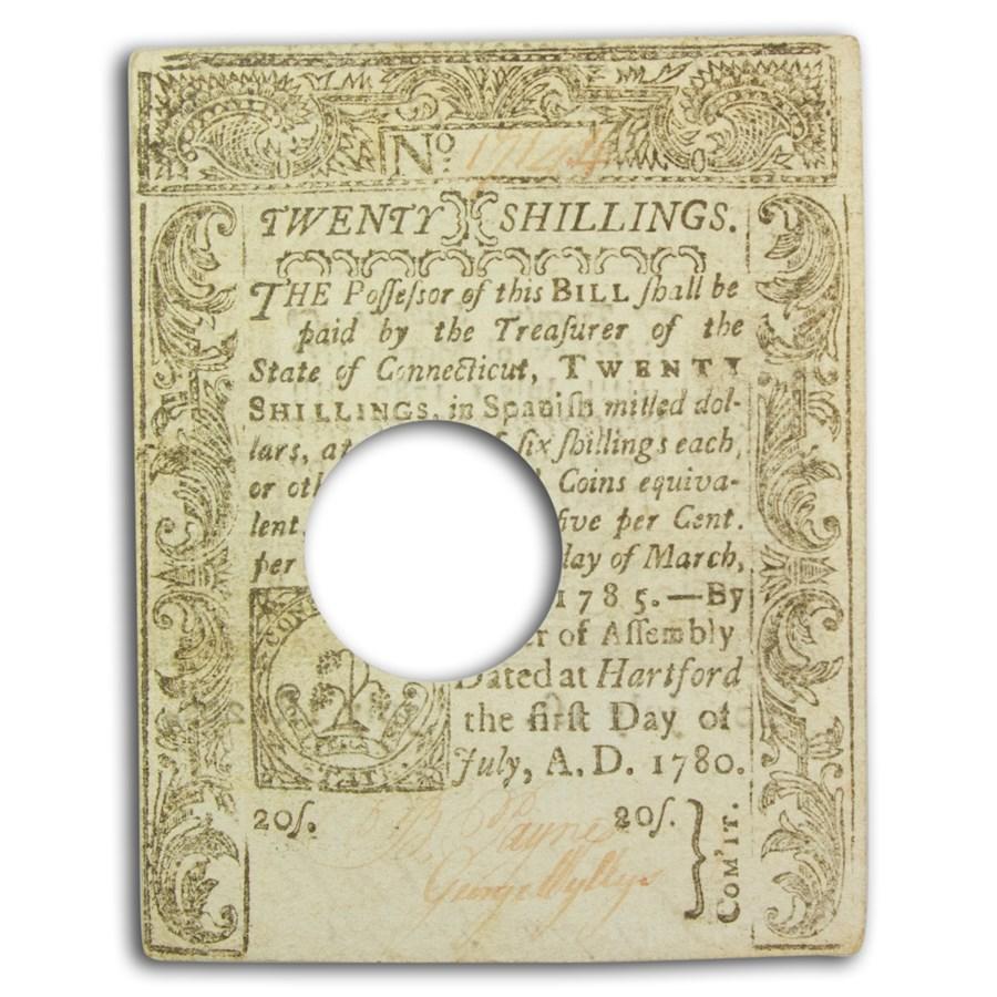 1780 20 Shillings Connecticut 7/1/80 AU+ (Fr#CT-238) Cancelled