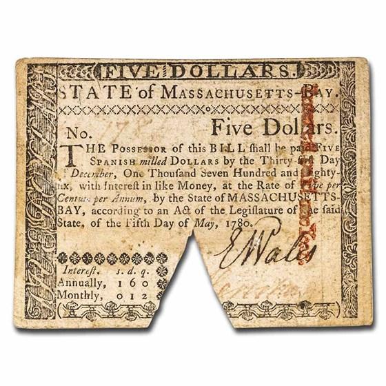 1780 $4 Massachusetts 5/5/1780 VF (Fr#MA-281) Cancelled