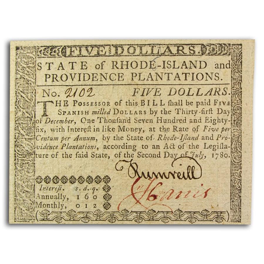1780 $5 Rhode Island 7/2/1780 CU (Fr#RI-286)