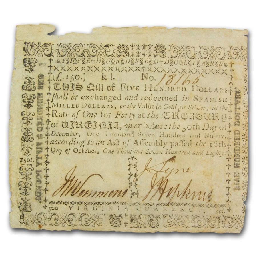 1780 $500 Virginia 10/16/80 VF (Fr#VA-196)