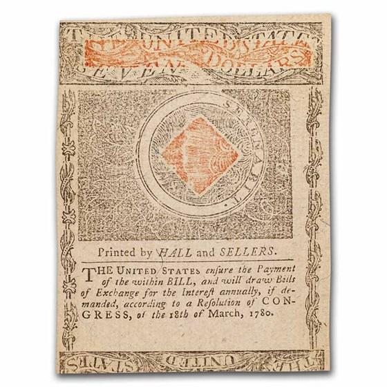 1780 $7 Rhode Island 7/2/1780 CU (Fr#RI-287)