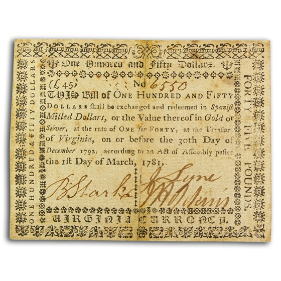 1781 $150 Virginia 3/1/1781 VF (Fr#VA-206)