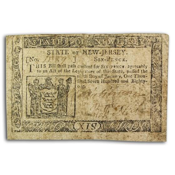 1781 6 Pence New Jersey 1/9/1781 Fine (Fr#NJ-192)