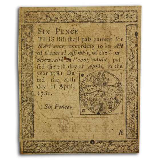 1781 6 Pence Pennsylvania 4/20/1781 VF (Fr#PA-242)