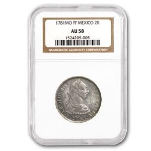 1781-Mo FF Mexico 2 Real Silver Charles III KM#88.2 AU-58 NGC