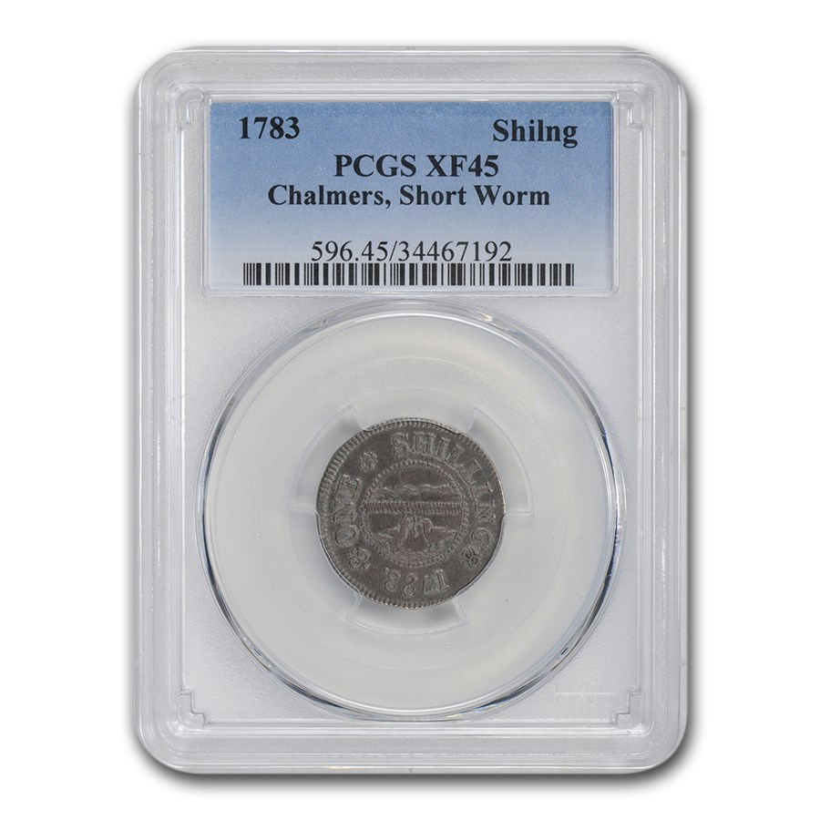 1783 Chalmers Shilling Short Worm Colonial XF-45 PCGS