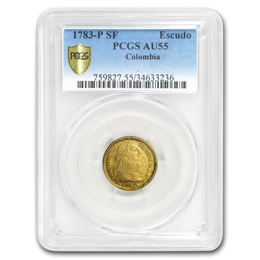 1783-P SF Colombia Gold Escudo Charles III AU-55 PCGS
