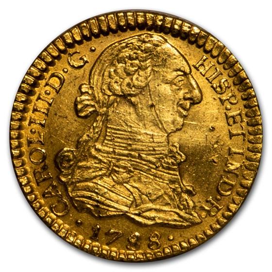 1783-P SF Colombia Gold Escudo Charles III Unc (Shipwreck Effect)
