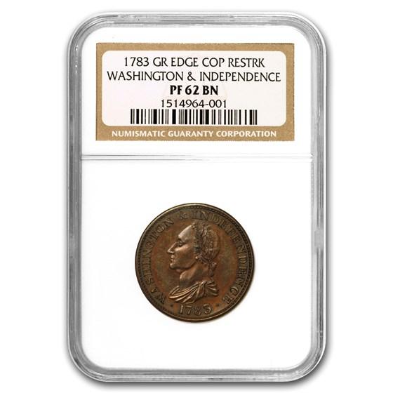 1783 Washington & Independence Copper Restrike Proof-62 BN NGC