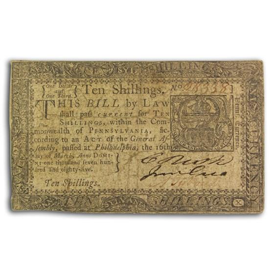 1785 10 Shillings Pennsylvania 3/16/1785 Fine (Fr#PA-270)