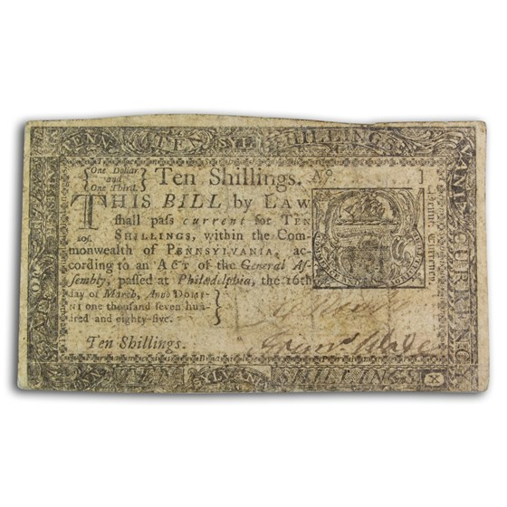 1785 10 Shillings Pennsylvania 3/16/1785 VF (Fr#PA-270)