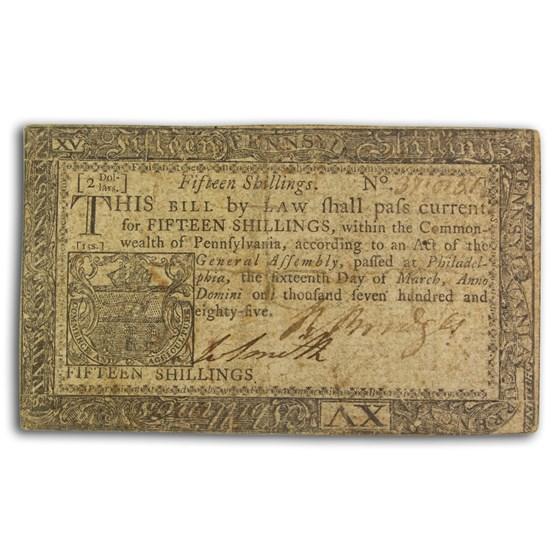 1785 15 Shillings Pennsylvania 3/16/1785 VF (Fr#PA-271)
