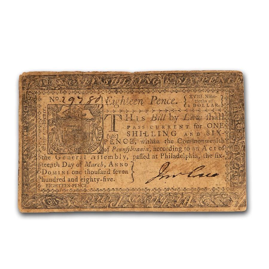 1785 18 Pence Pennsylvania 3/16/1785 Fine (Fr#PA-267)