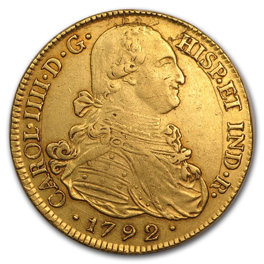 1785-1800 Colombia Gold 8 Escudos Charles IIII AU Details