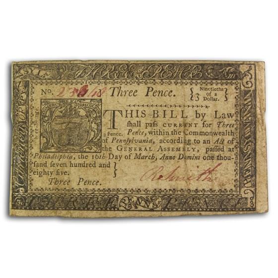 1785 3 Pence Pennsylvania 3/16/1785 VF (Fr#PA-265)