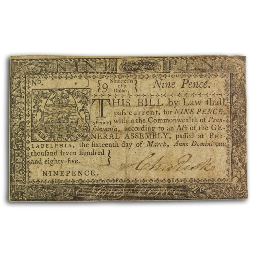 1785 9 Pence Pennsylvania 3/16/1785 VF (Fr#PA-266)